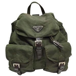 Prada green nylon classic medium backpack